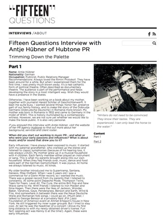 15 Questions Interview
