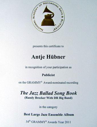 GRAMMY certificate